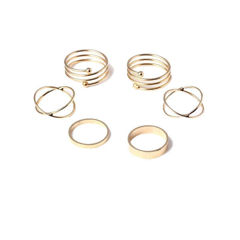 6 PZ Media Anelli di Barretta Top Stacking Rings Tre Pezzi Set per Le Donne Punk Placcato Oro Impilabile Spirale Nail Knuckle Rings R100
