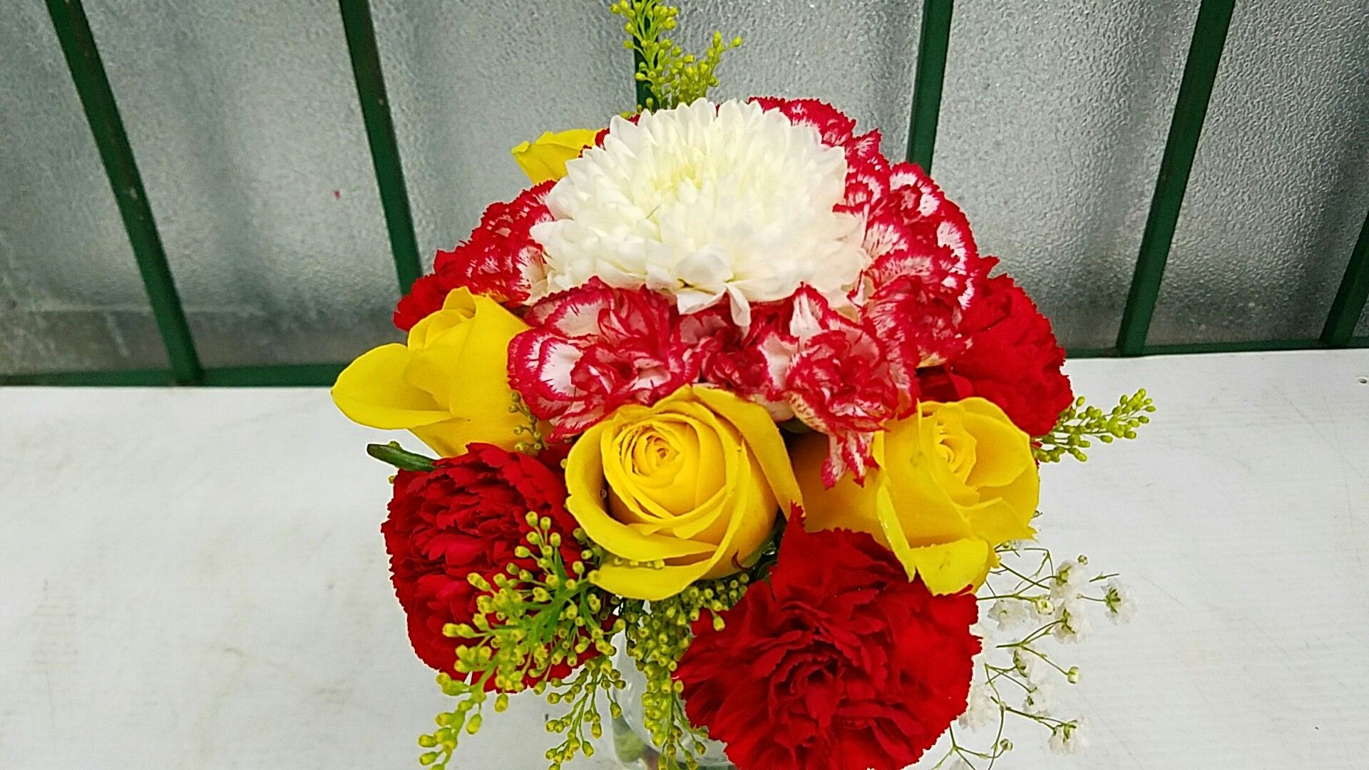 The two tone Carnations make this bouquet.