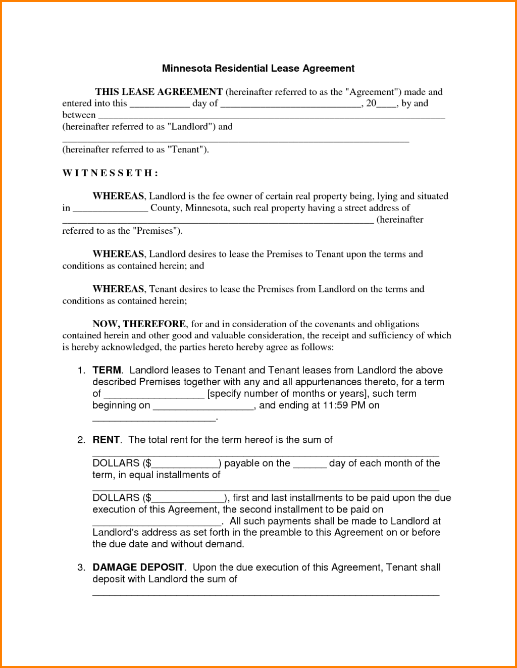 Free Download Minnesota Residential Lease Agreement Template With