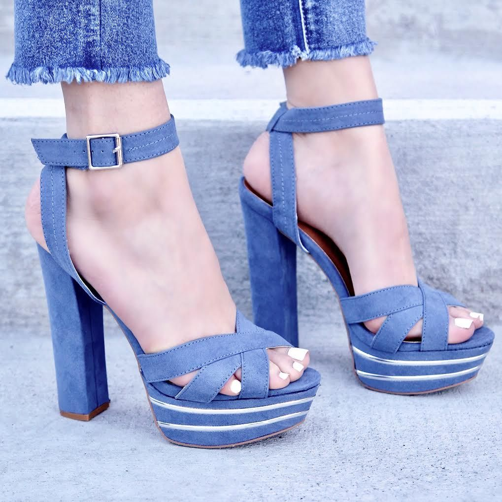 1aa28d55b8d Ocean Blue Peep Toe Detailed Cut Out Platform Chunky High Heels Faux Suede