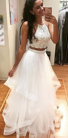 Long Junior White A-line Halter Sleeveless Beading Prom Dresses 2018 ...