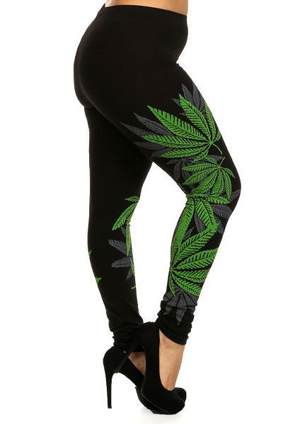 leaf weed unique design leggings pot cotton l juniors plus 2x 3x
