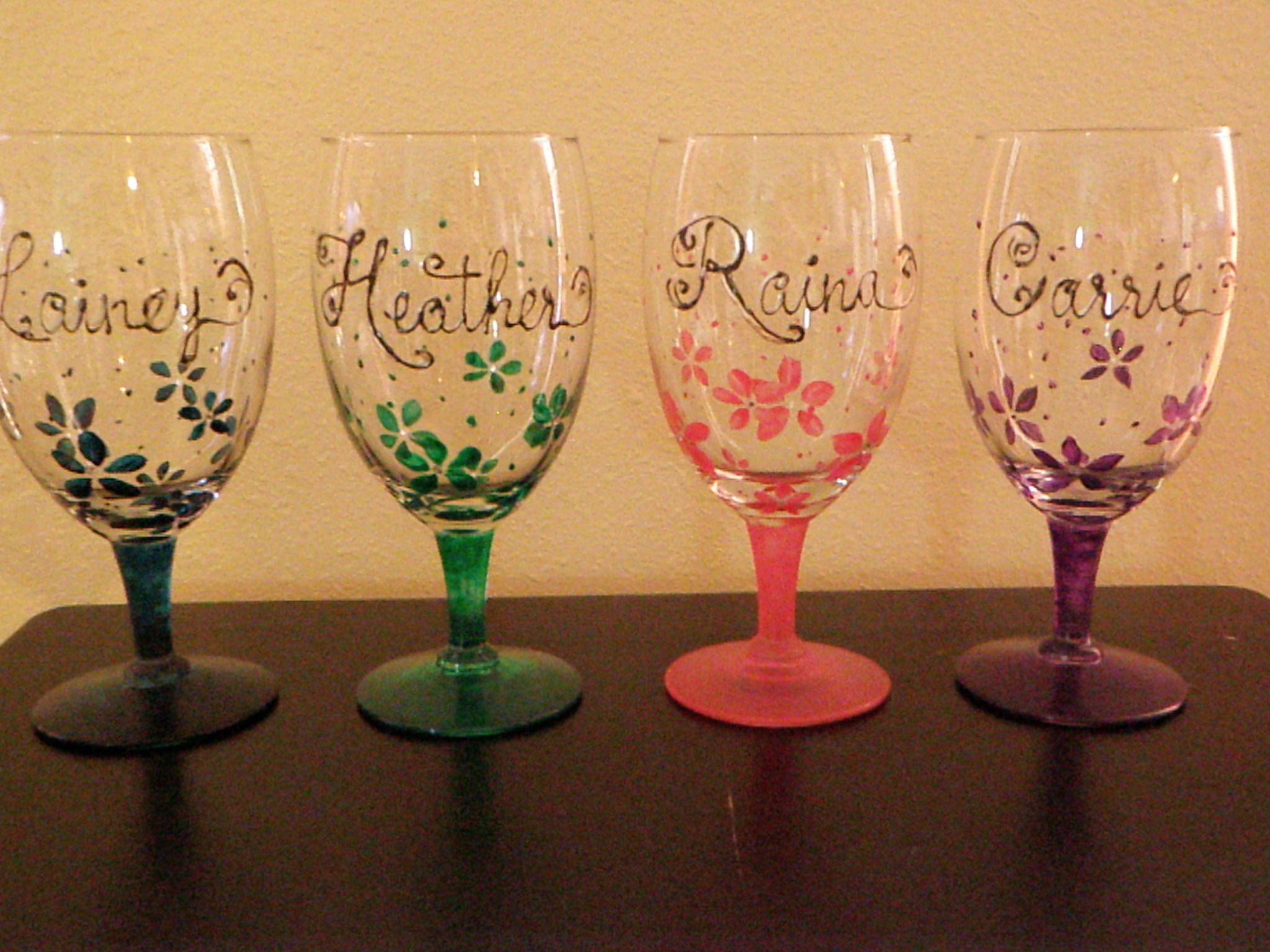 Wine Glass Ideas Diy Hand Painted Wine Glasses Names But Different