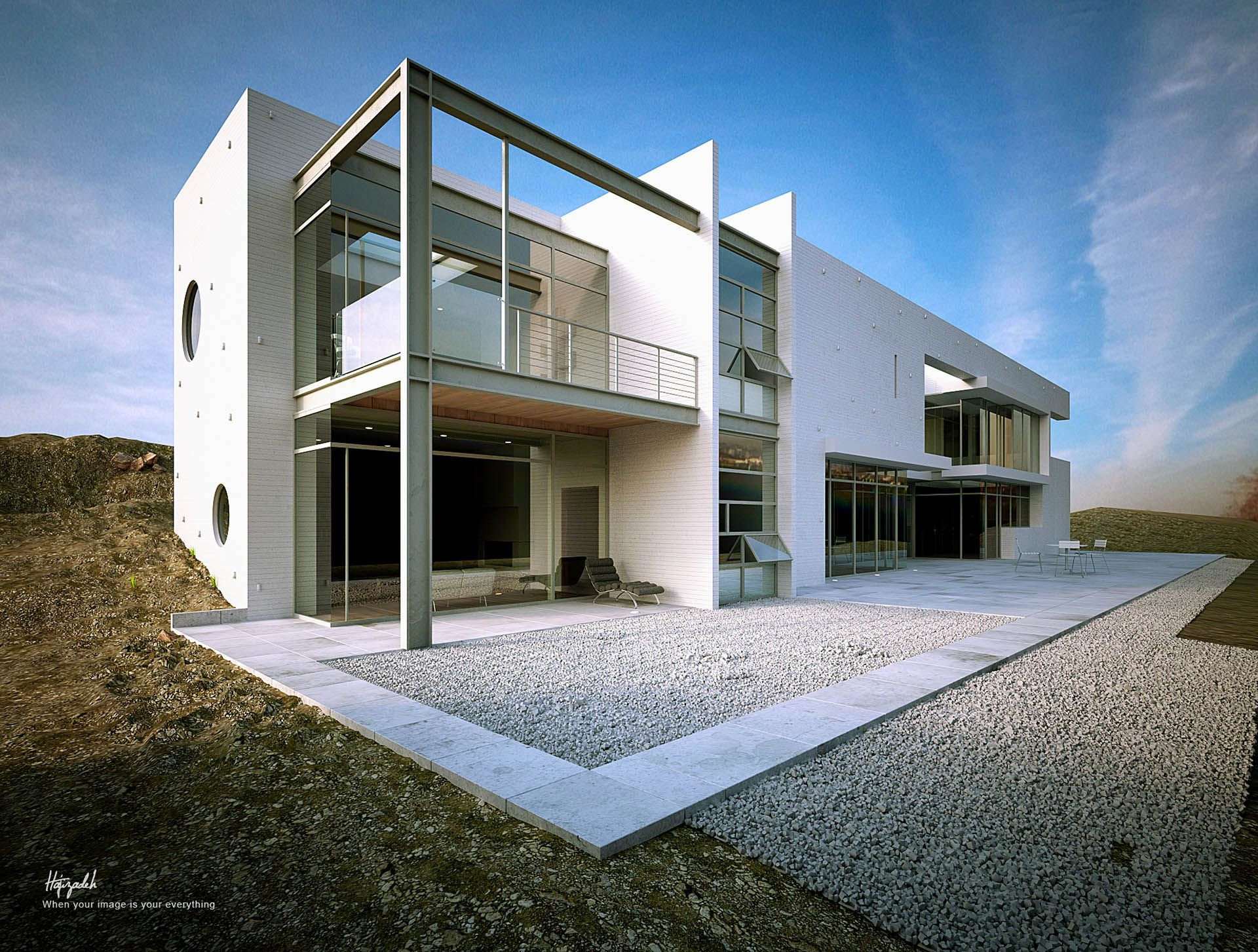 White house and linz architects by mohsen hajizadeh 3d for 3ds max architectural rendering
