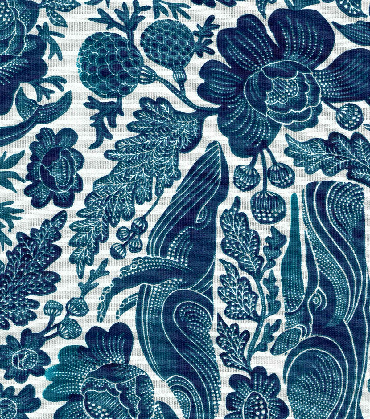 Whale floral home décor fabric