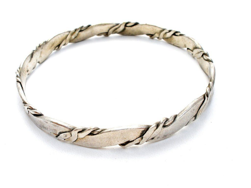 twisted mexican bangle bracelet vintage silver sterling pin