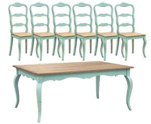 Wondrous Amazon Com Turquoise French Dining Table Set 1 Table 6 Pabps2019 Chair Design Images Pabps2019Com