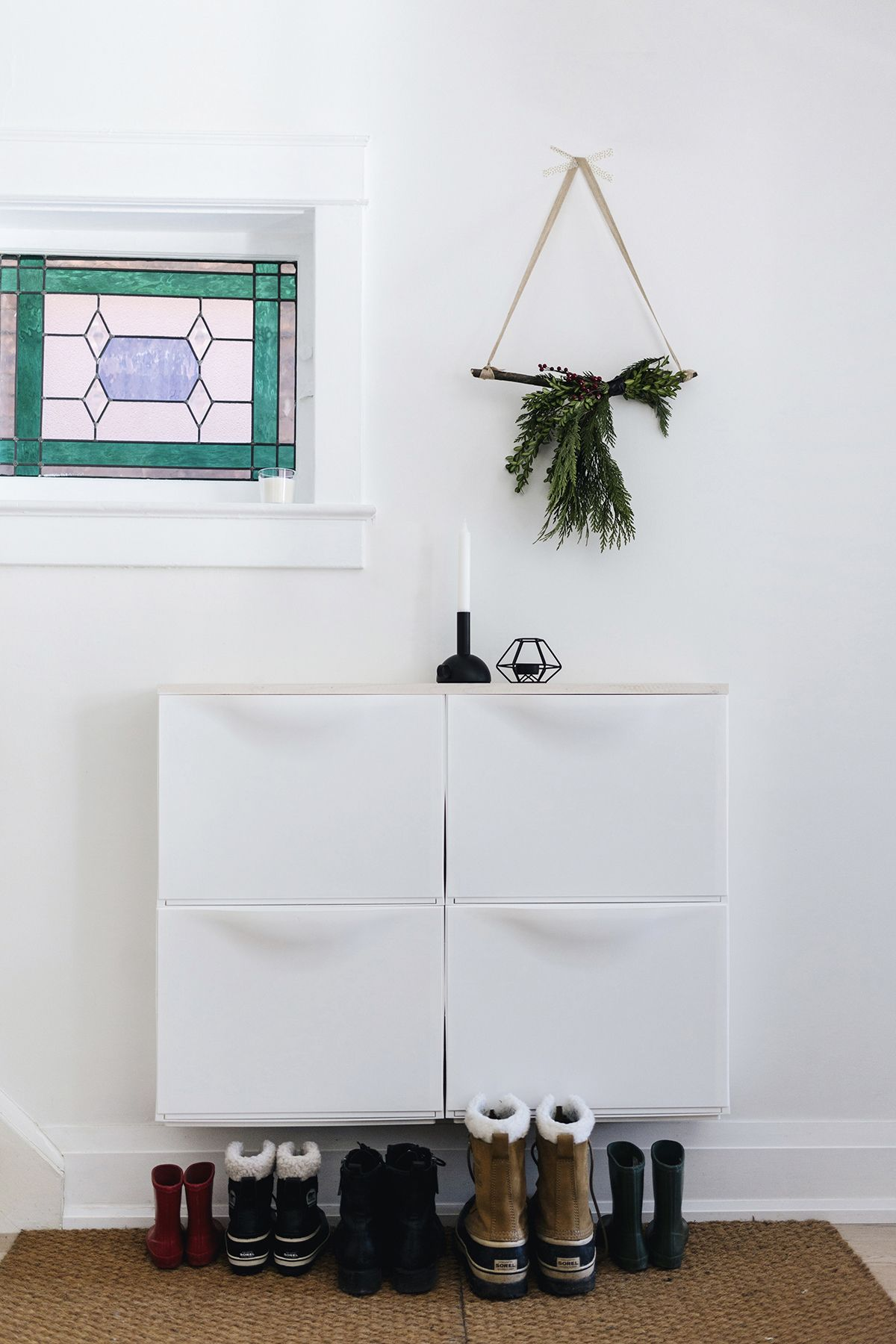 Ikea Trones Bins Shoe Cabinet With Christmas Wall Hanging