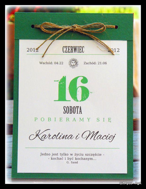 Zaproszenia ślub Kartka Z Kalendarza Jedyne Takie 2641123111