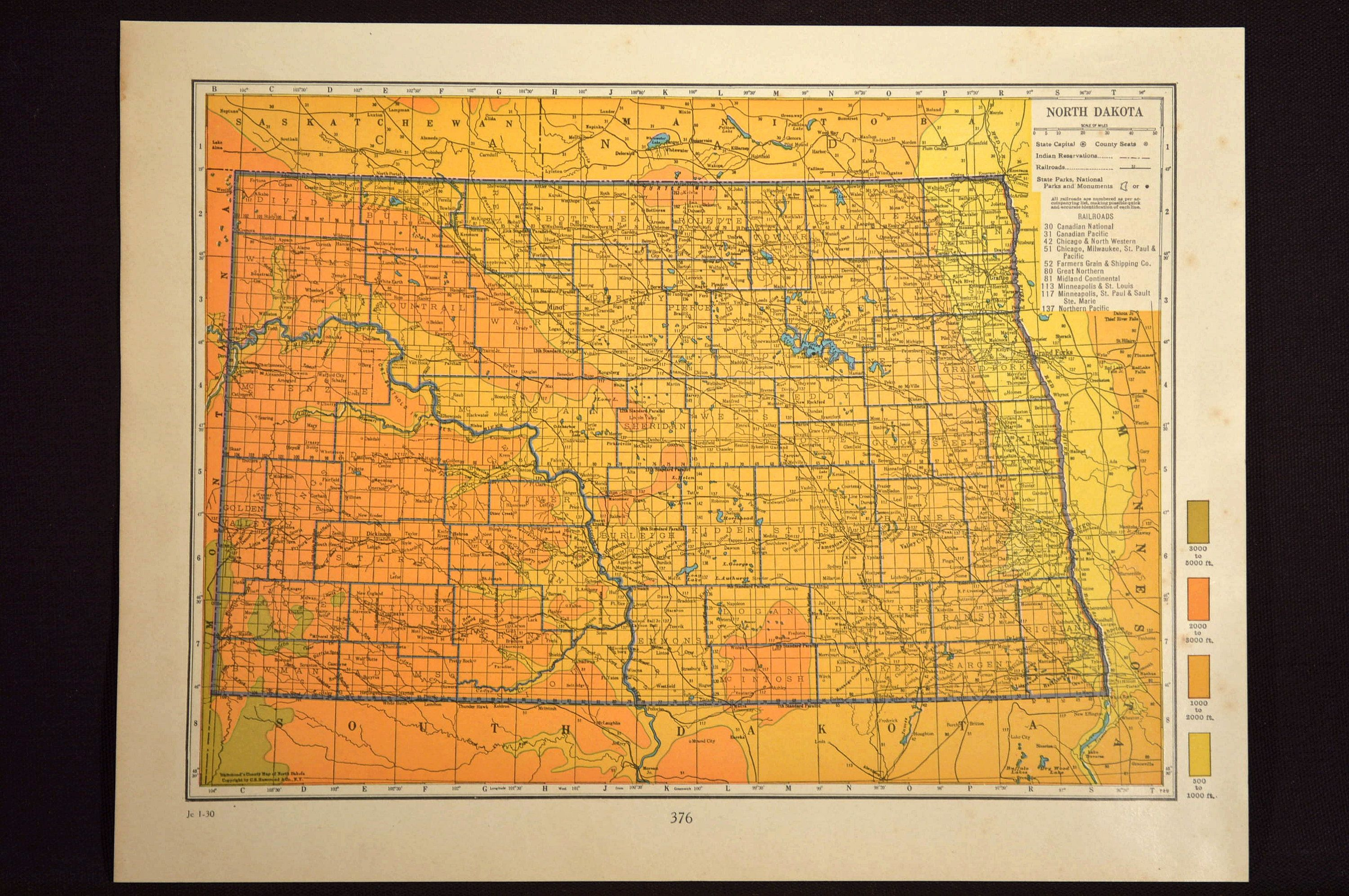 topographic map of north dakota North Dakota Map Of North Dakota Wall Decor Art Topographic Map