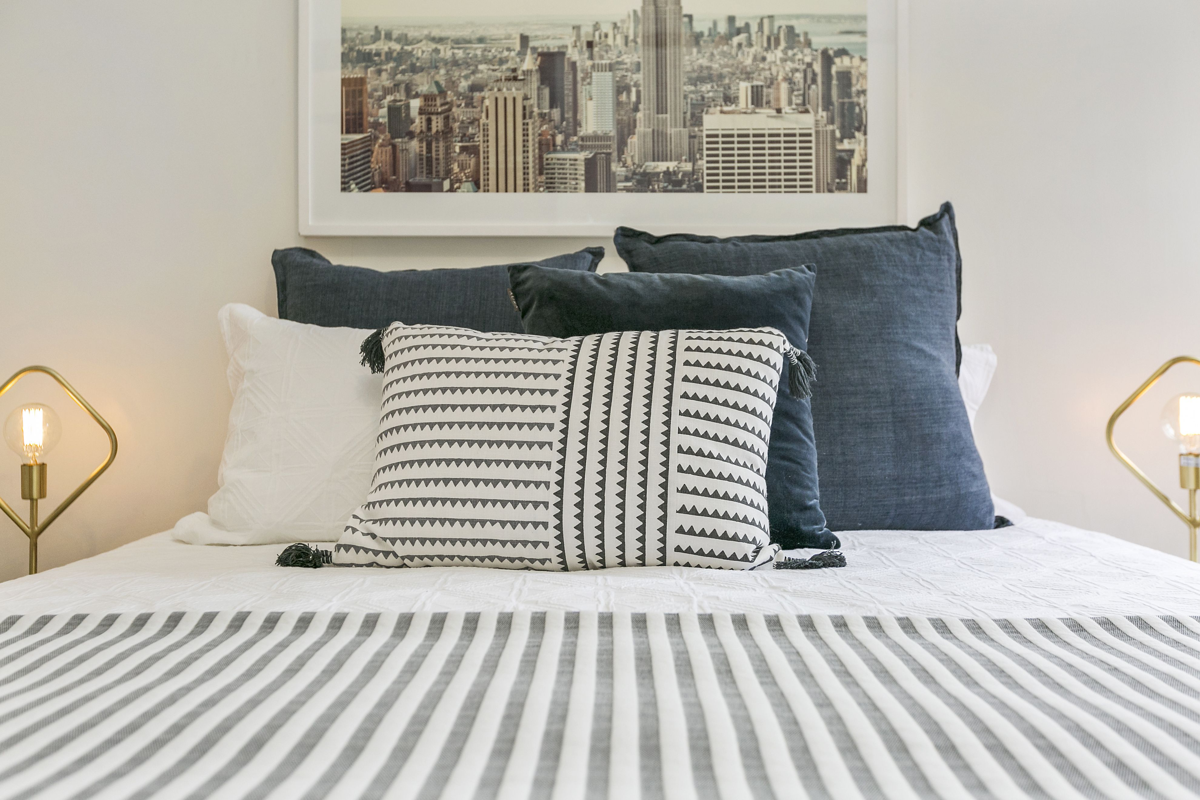 Master Bedroom Styling Ideas Framed Art Linen Layers Shift - Bed Styling Ideas