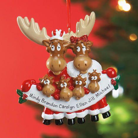 6 Name Moose Family Ornament $1499 Lillian Vernon Christmas Ideas - moose christmas decorations