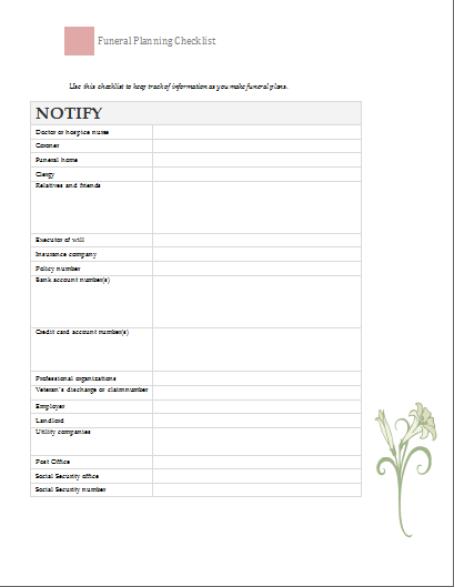 Funeral Planning Checklist at worddocumentscom DEATH Pinterest