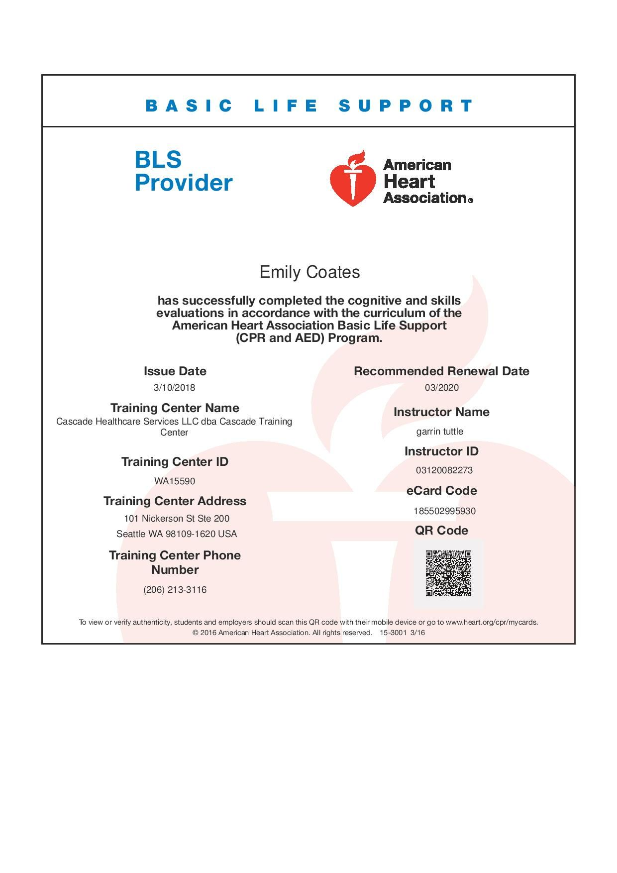 bls basic support heart association midwife assistant exp certification