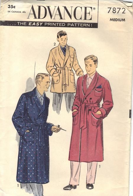 Men's Hefner Smoking robe, circa 1950s    Men's smoking robe in two lengths, circa 1950s Hugh Heffner style. Double-breasted with shawl collar.