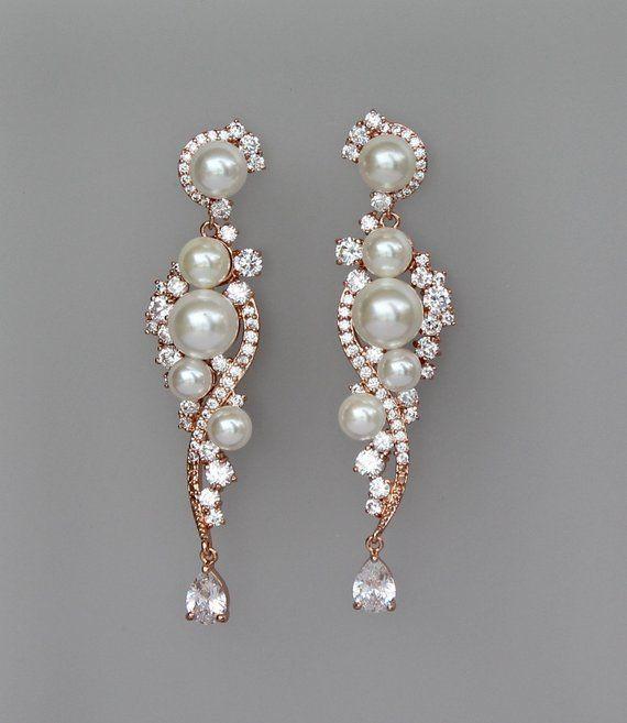 1cb02a178d73d Rose Gold Bridal Earrings, Pearl Chandelier Earrings, Pink Gold ...