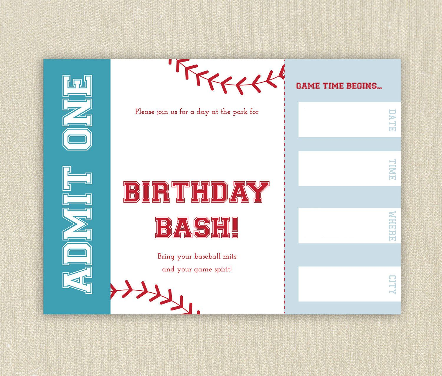 Party Invitations Templates Free Downloads Cool Download Free Template Free Printable Baseball Ticket Birthday .