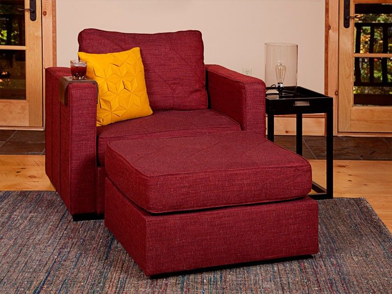 5 Series Armchair And Ottoman With Cranberry Tweed Covers