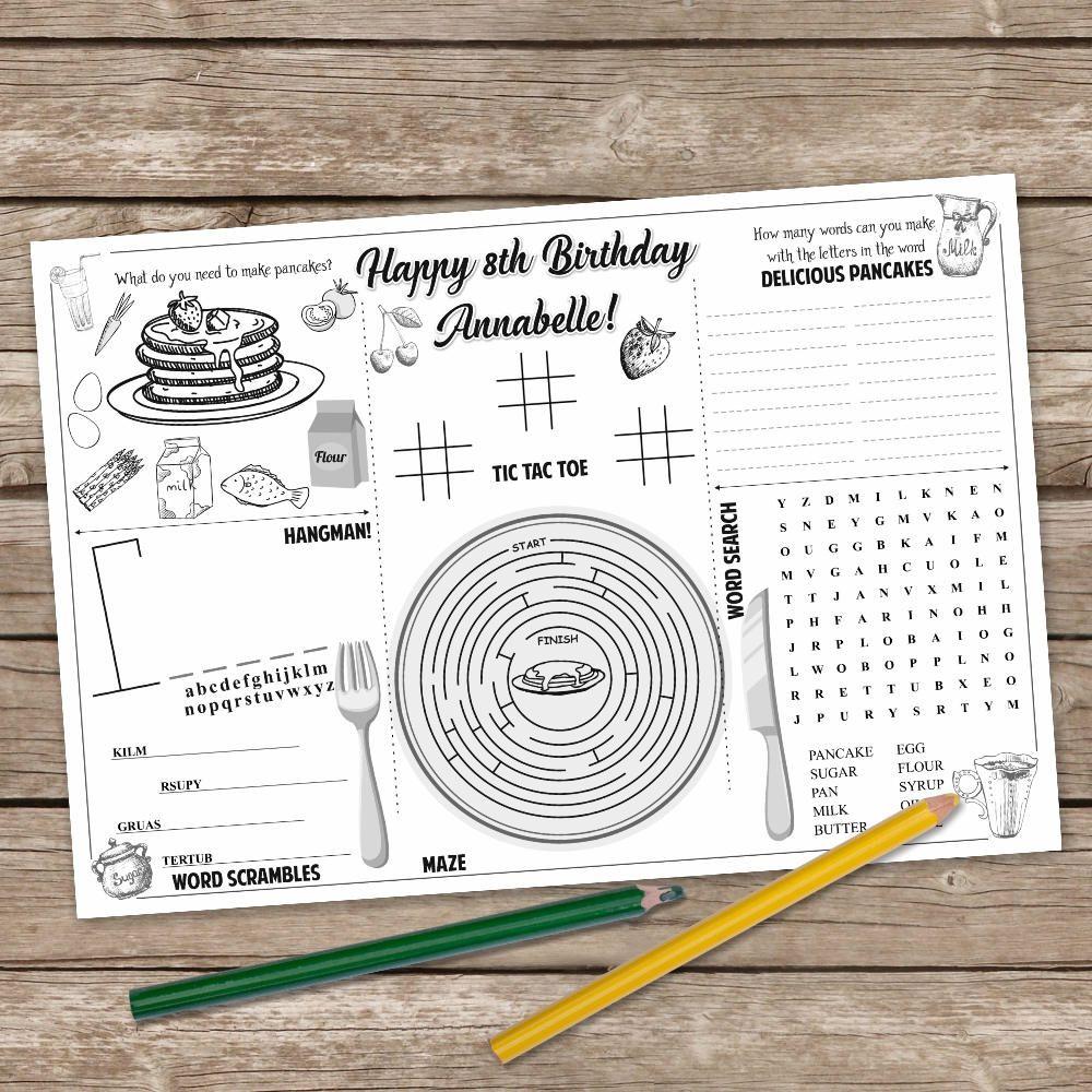 Pancake Coloring Page Pancake And Pajama Party Activity Mat Pancake Printable Placemat Pancake Gam Pancakes And Pajamas Printable Placemat Party Activities
