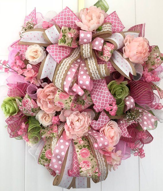 Romantisch Shabby Chic Cottage rosa Pfingstrose Blumenkranz