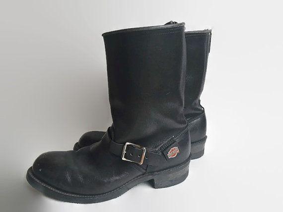 vintage leather harley davidson motorcycle boots thick. Black Bedroom Furniture Sets. Home Design Ideas