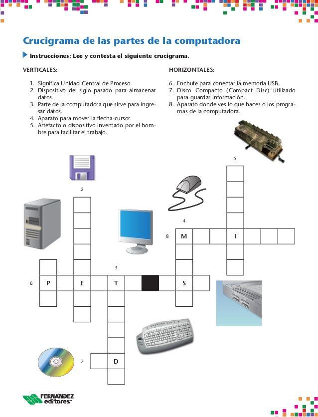 Crusigramas del computador | Computadoras | Pinterest | Actividades ...