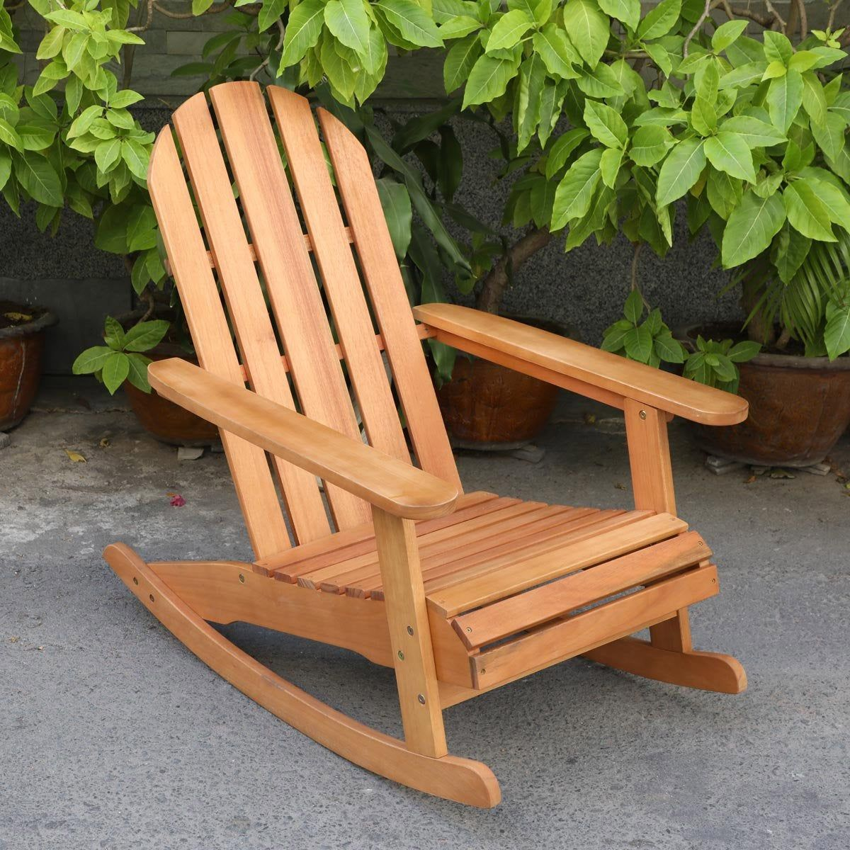 Chaise de jardin en bois Rocking chair naturel | Chaise ...
