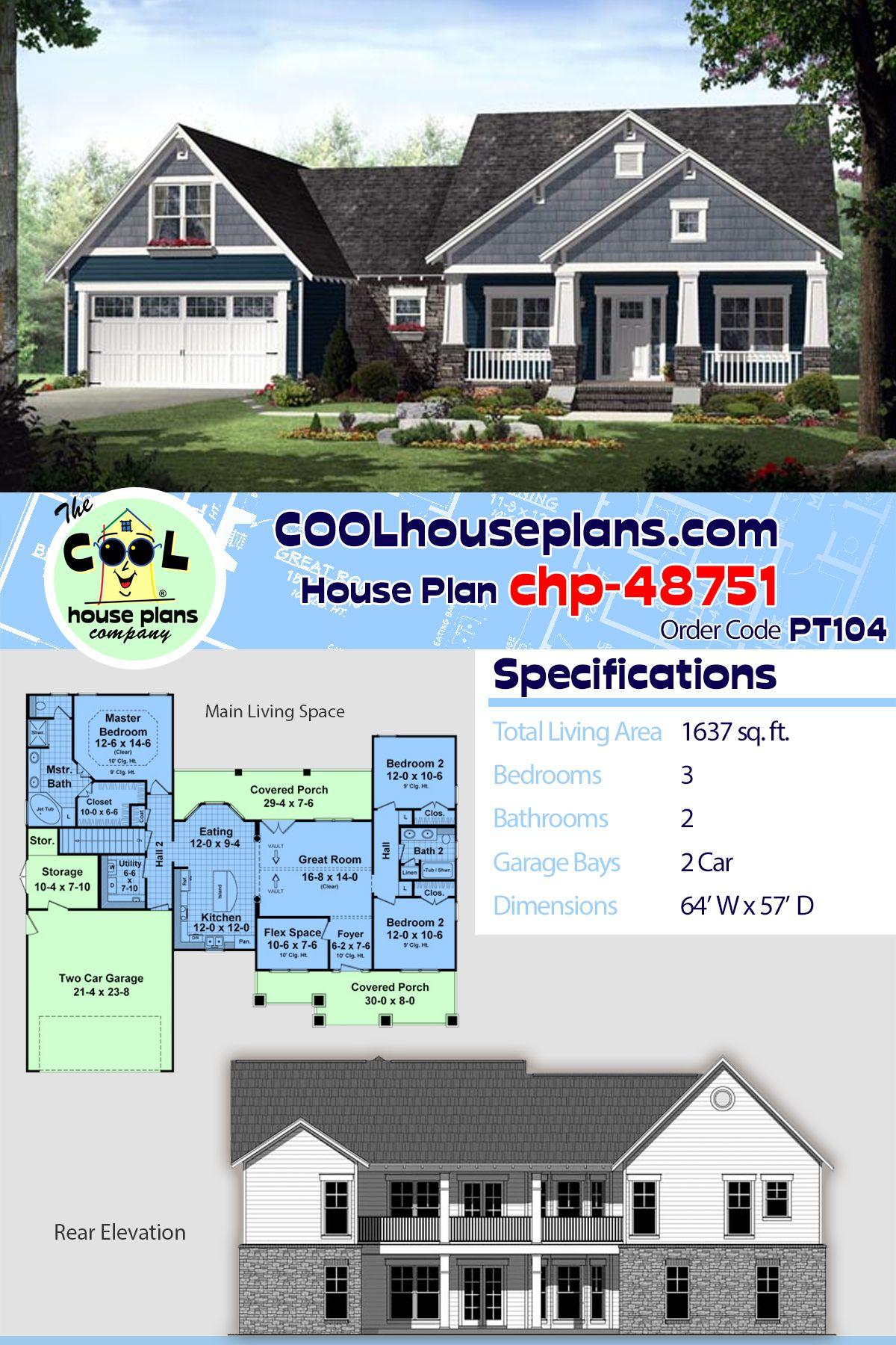 House Plan Chp 48751 Best House Plans Craftsman House Plans Craftsman House Plan