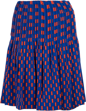 Blue silk skirt from Diane Von Furstenberg featuring an orange pattern print, a high elasticated waist and a two tiered pleated design.