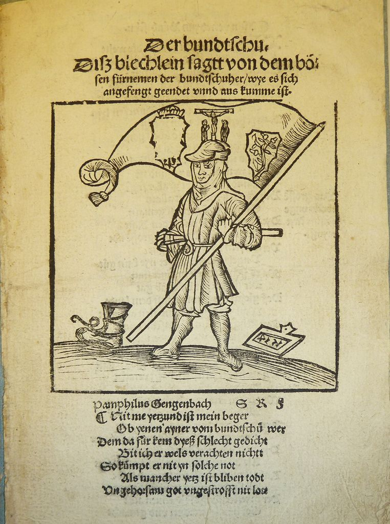 Woodcut illustration (used by Erhard Oeglin of Augsburg) of a banner bearer for the Bundschuh Insurrections, a series of German peasant revolts