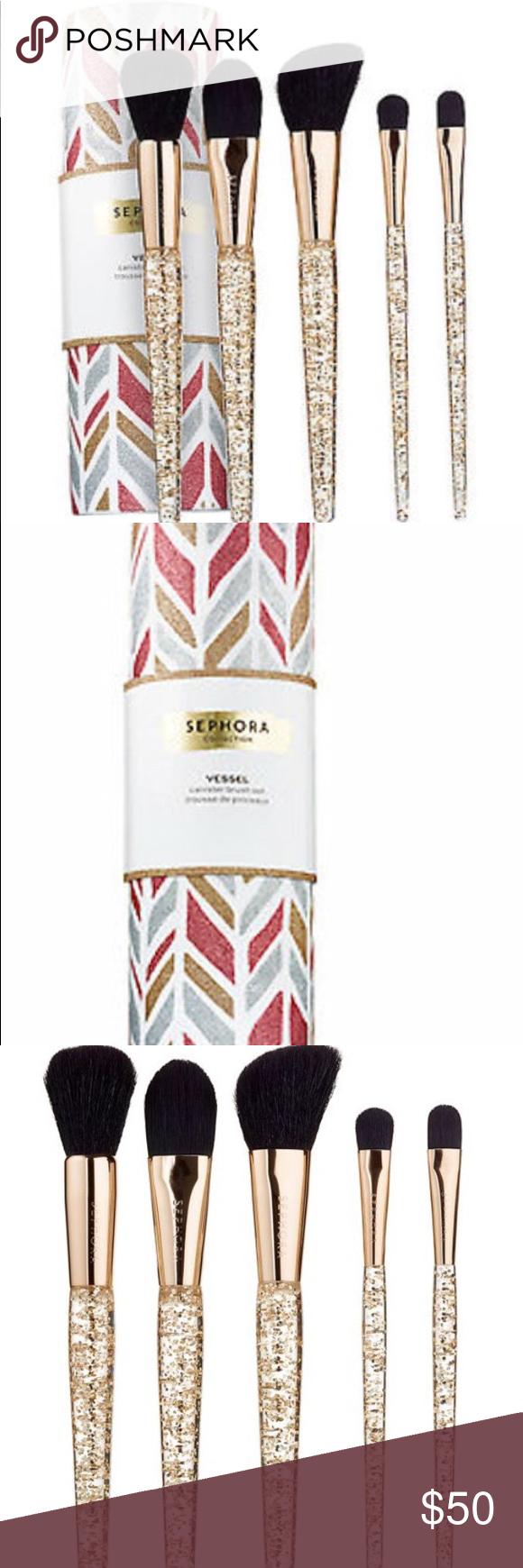 Sephora Sparkle & Shine Glitter Brush Set W/Case NWT
