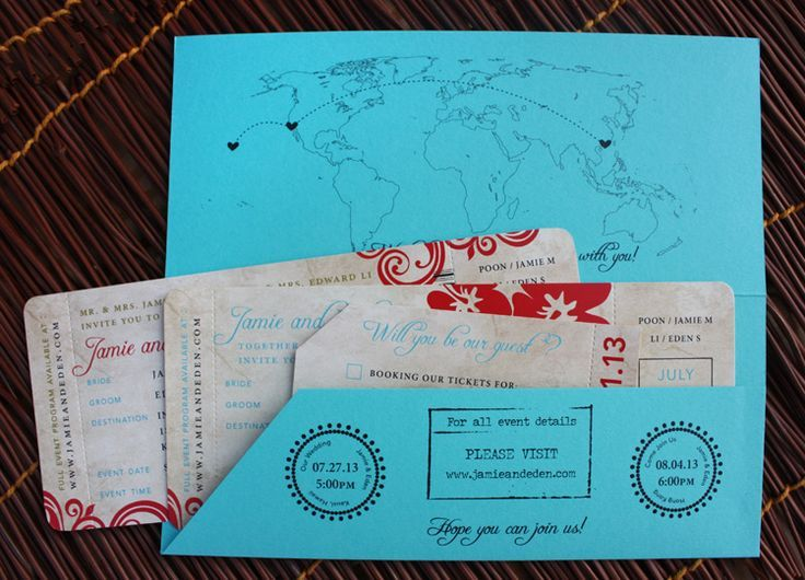 Turquoise, Red  Gold Antique Hawaii  Hong Kong Airline Ticket - airline ticket invitation