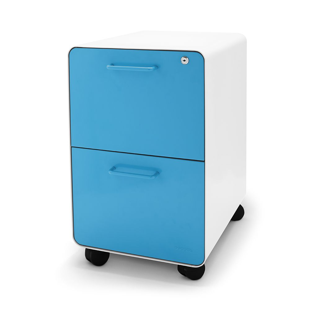 White + Pool Blue Stow 2 Drawer File Cabinet, Rolling | Poppin