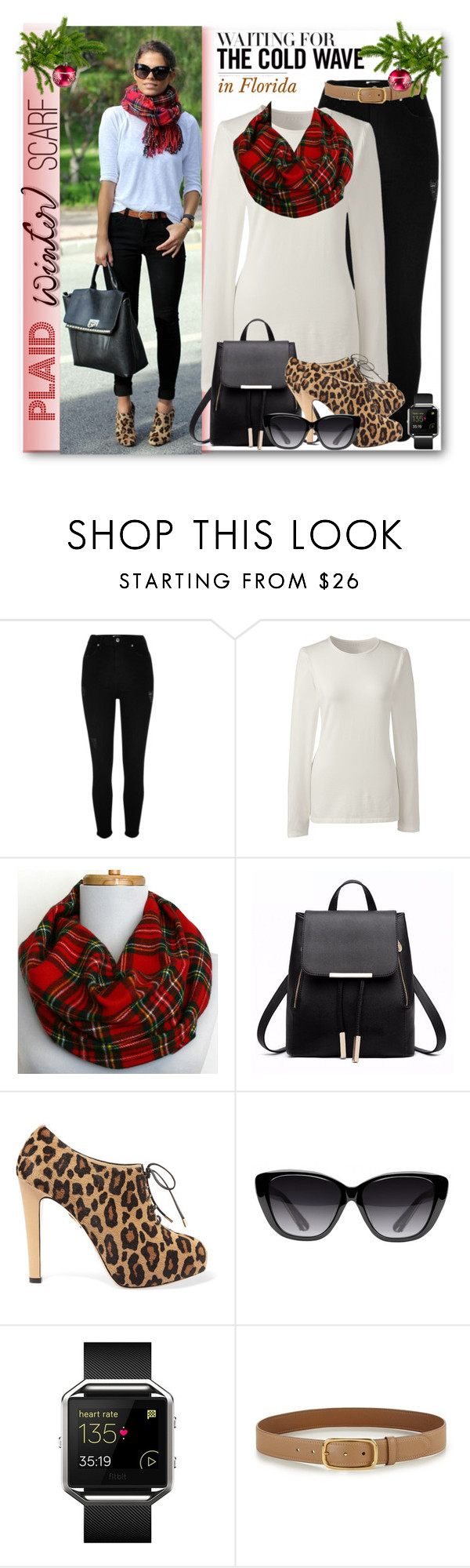 """Plaid Winter Scarf, waiting on the cold wave in FL!!"" by fashionlibra84 ❤ liked on Polyvore featuring River Island, Lands' End, Charlotte Olympia, Elizabeth and James, Fitbit and Prada"
