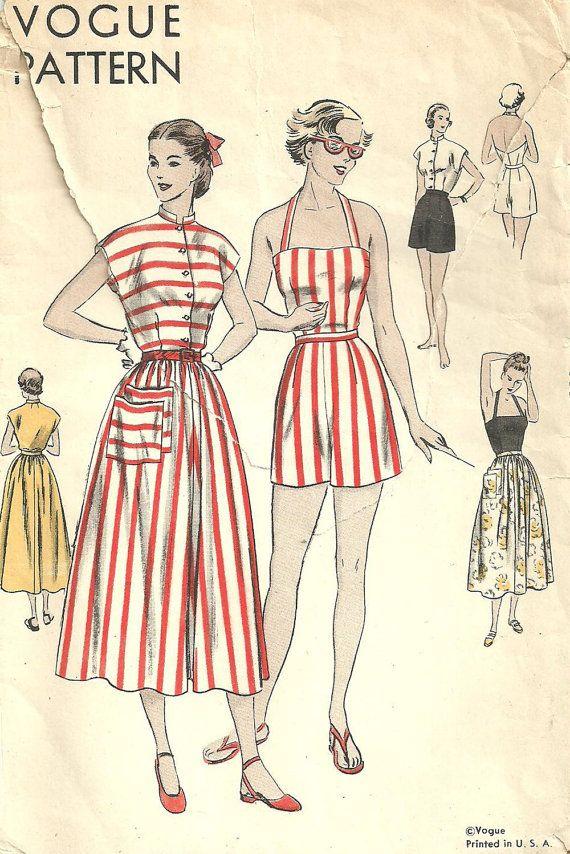 Vogue 6434 Vintage 40s Sewing Pattern Playsuit Romper Size 12 ...