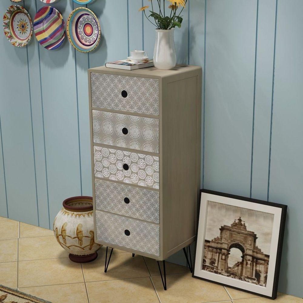 Chest with drawers vintage retro brown storage organizer tower
