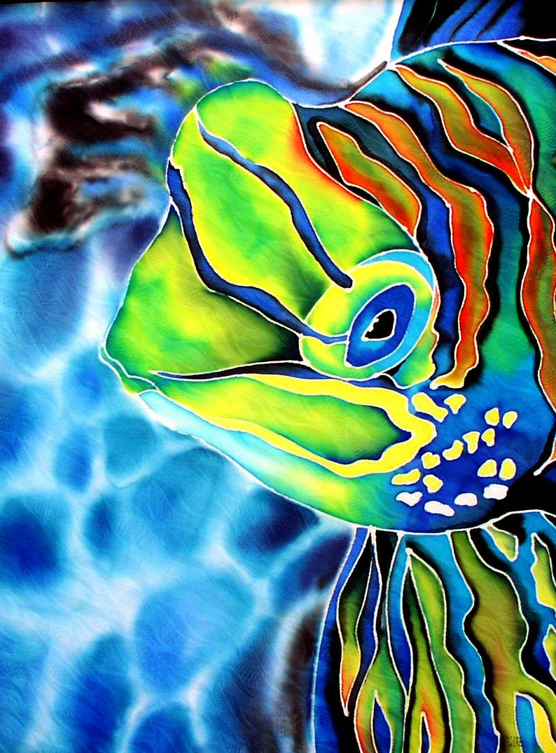 """""""Mandarin Fish"""" 36 x 24 inches, silk painting by Pamela Glose.  Find out about her cutting-edge ebooks on silk painting at www.MySilkArt.com."""