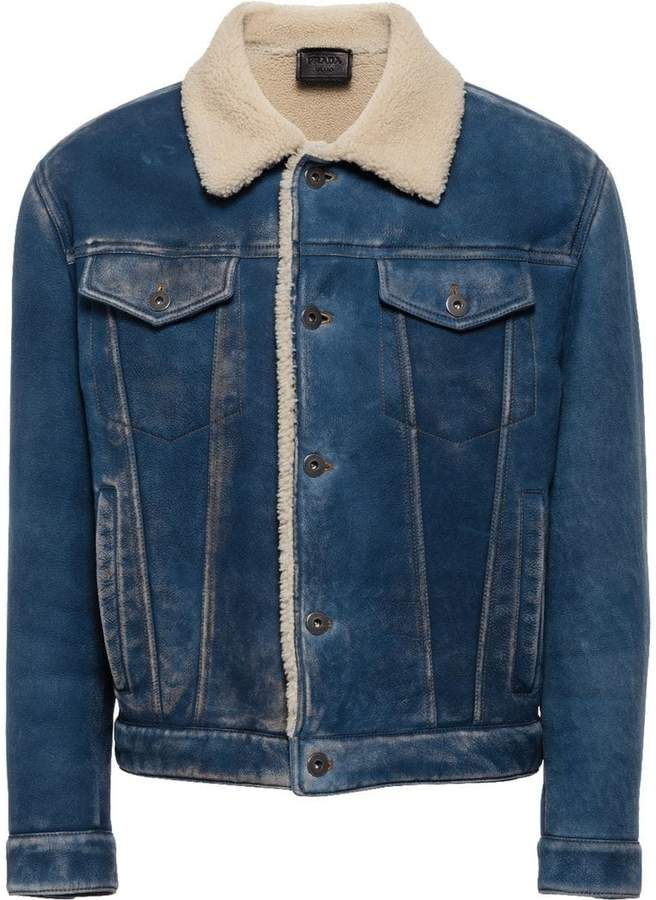 175f38f880ca3b Prada Denim Sheepskin Jacket in 2019   Products   Denim, Jackets ...