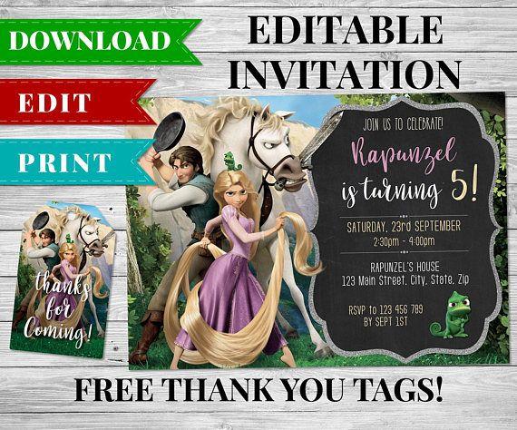 Rapunzel Invitation Tangled Invitation Rapunzel Birthday Party