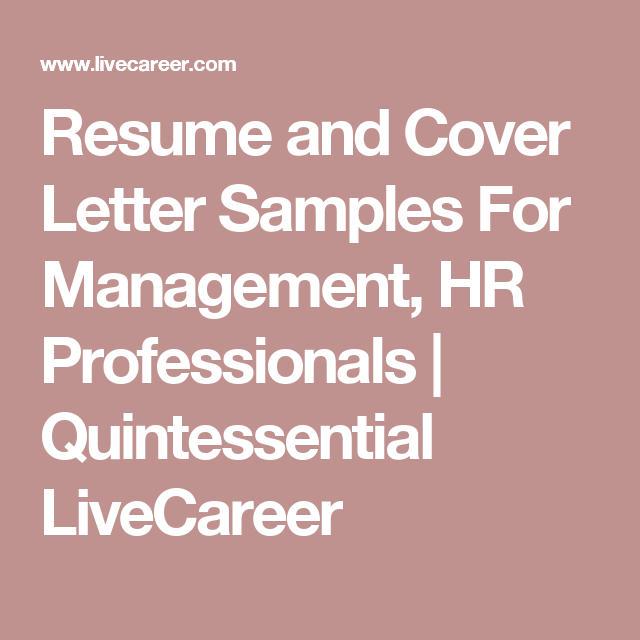 Resume and cover letter samples for management hr professionals resume and cover letter samples for management hr professionals quintessential livecareer spiritdancerdesigns Images