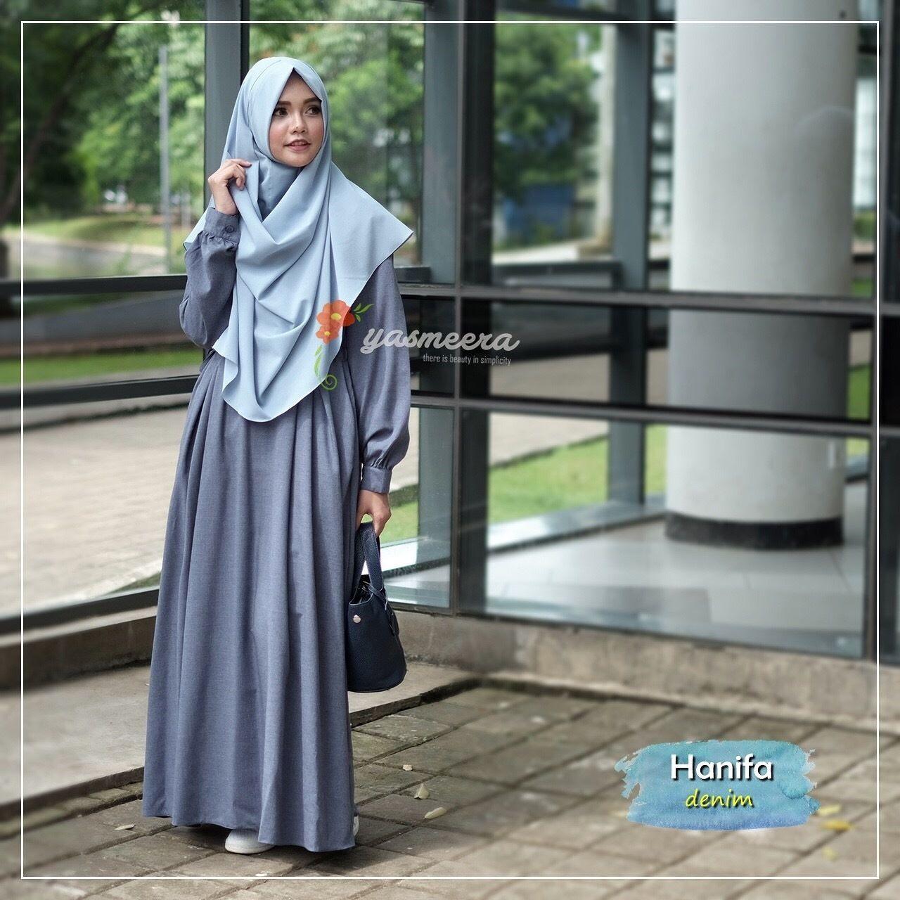 Gamis Yasmeera Hanifa Dress Denim - baju gamis wanita busana