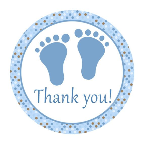 Superb INSTANT DOWNLOAD Blue Brown Circle Baby Shower Thank You Tags Label   Polka  Dots Baby Feet