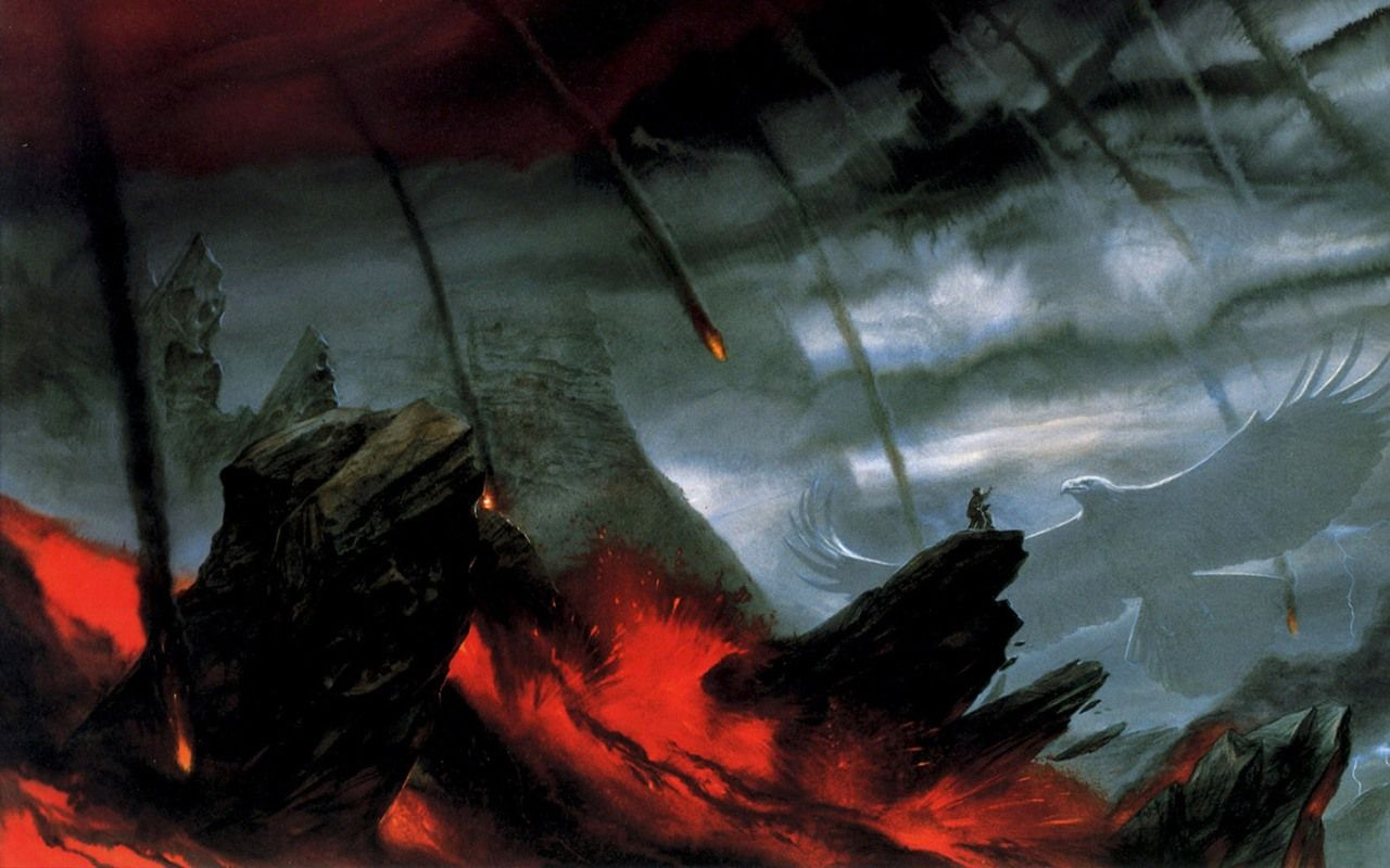 lava eagles The Lord of the Rings fantasy art John Howe