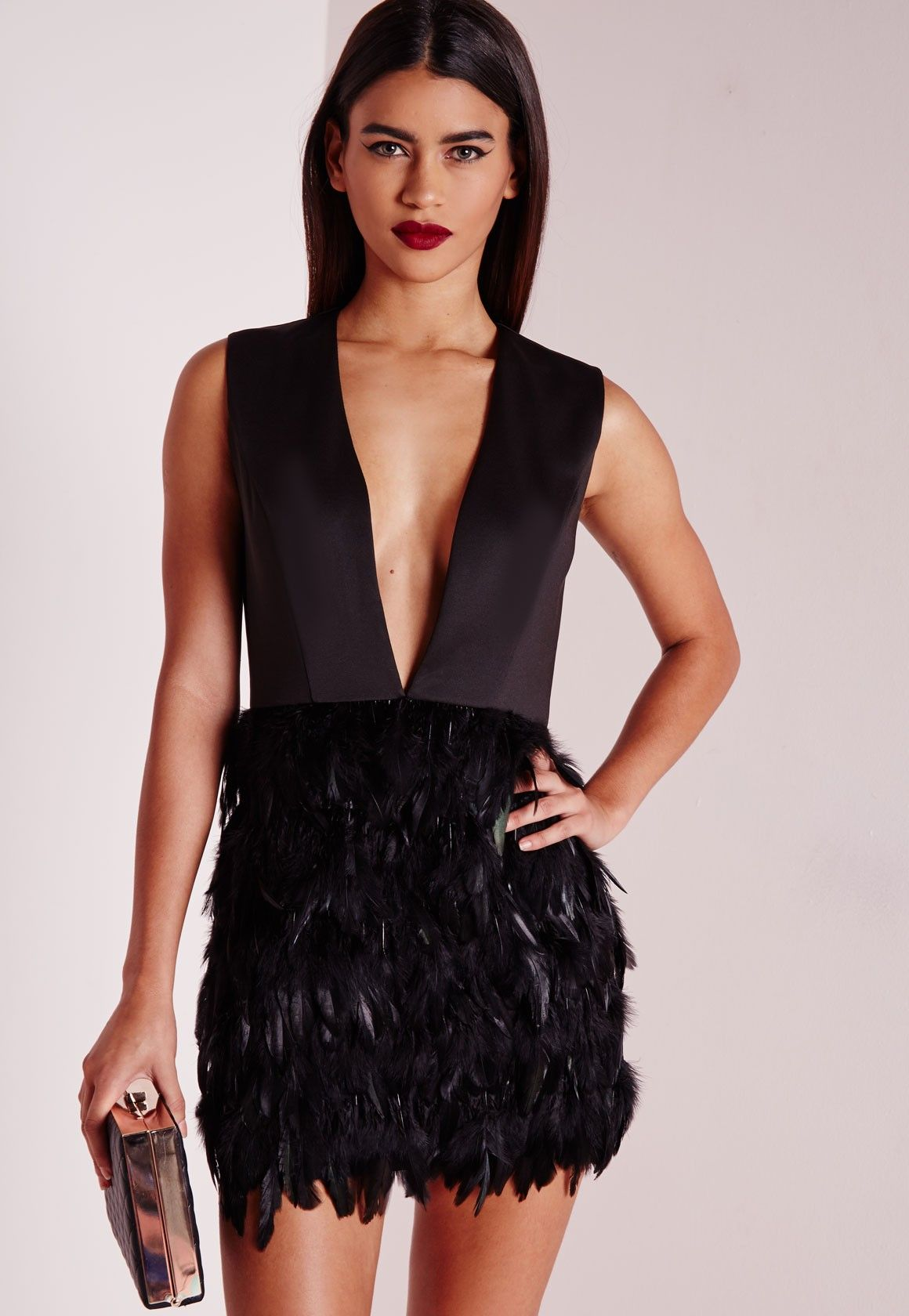 ccebd79566 Missguided - Premium Feather Skirt Plunge Dress Black