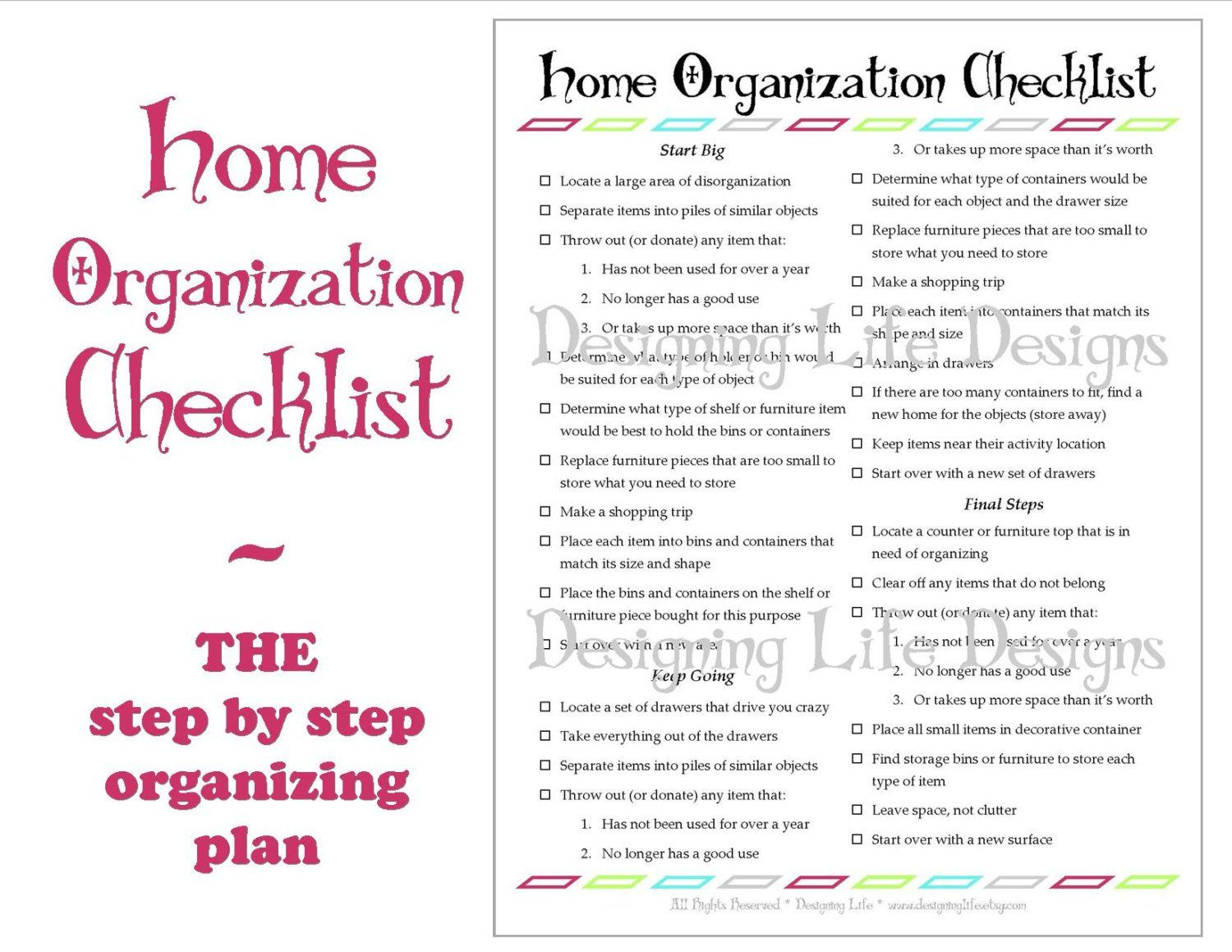 Home Organization Checklist PDF Printable Basic