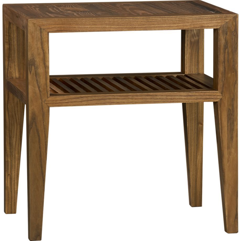 marin side table at crate barrel solid weathered elm slatted lower shelf clean lines tung oil finish - Crate And Barrel End Tables