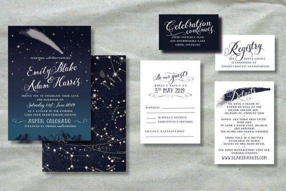 celestial invitation printable wedding invitation set starry night
