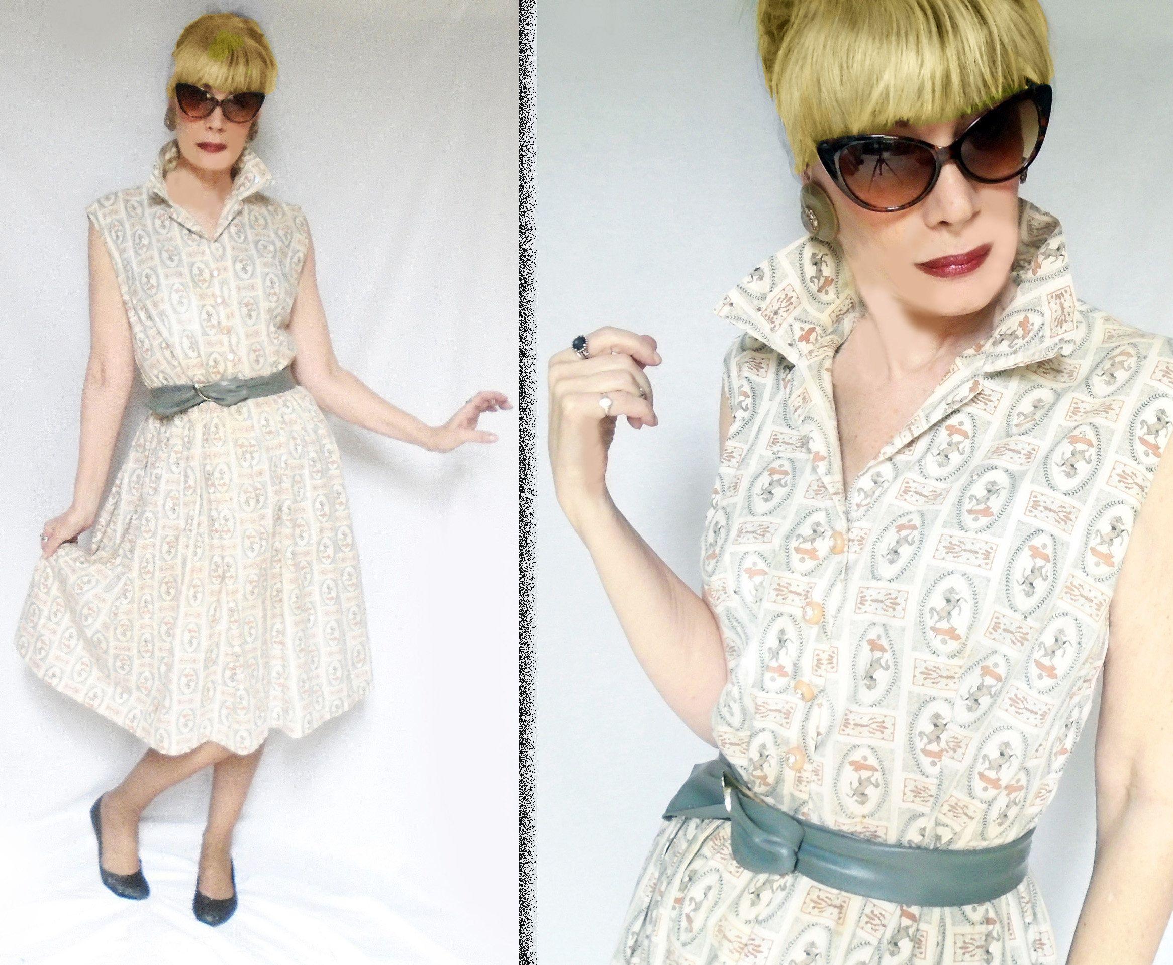 50s Plus Size Dress Is A Summer Shirtwaist With Full Skirt Retro