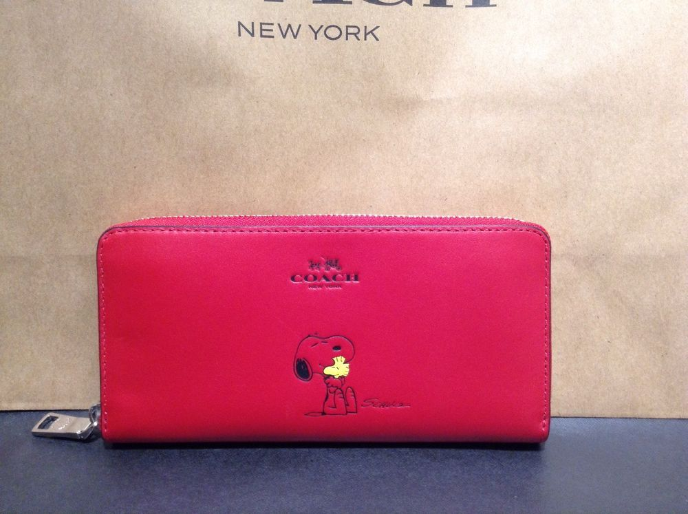 0d60530bec Nwt coach x peanuts snoopy leather limited edition accordion wallet ...