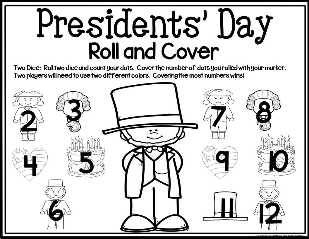 Presidents Day Math Center Dice Games